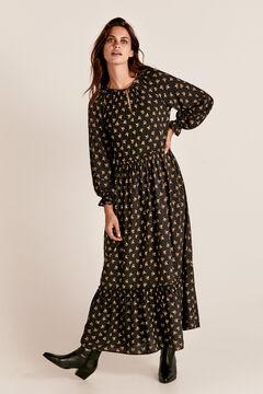 Cortefiel Long V-neck dress Black