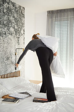 Cortefiel Soft feel wide leg trousers Black