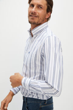 Cortefiel Organic cotton striped Oxford shirt Navy