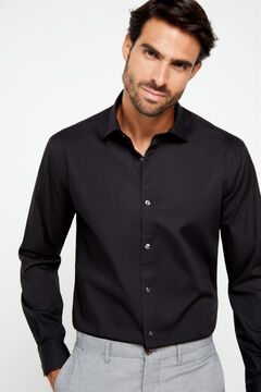 Cortefiel Stretch poplin shirt Black