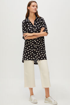 Cortefiel Printed kaftan with gold buttons Black