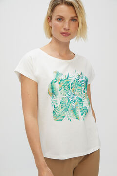 Cortefiel Printed T-shirt Natural
