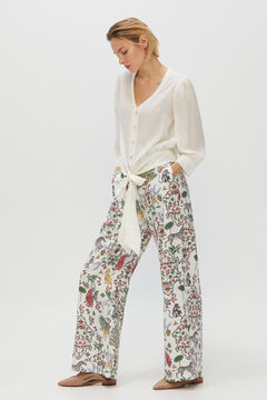 Cortefiel Printed straight cut trousers Natural