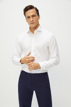 Cortefiel White tailored dress shirt with cufflinks White