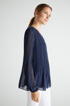Cortefiel Pleated comfort shirt Navy