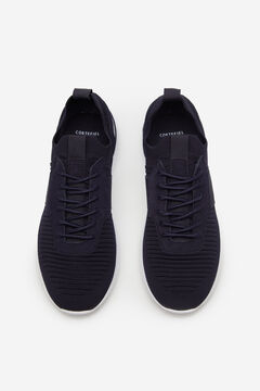 Cortefiel Rubber sole lace-up trainer Navy