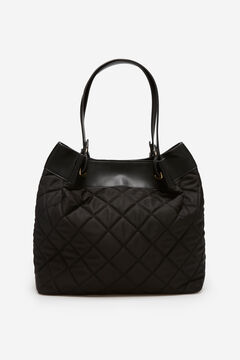 Cortefiel Quilted nylon slouch bag Black