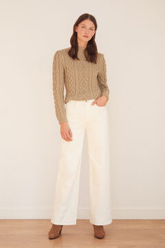 Cortefiel Denim palazzo trousers - sustainable wash White