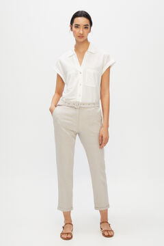 Cortefiel Belted linen trousers Brown