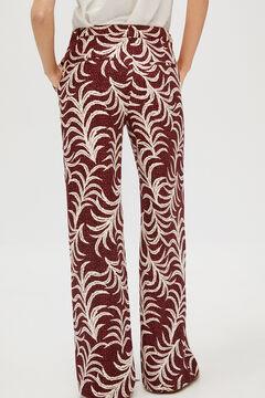 Cortefiel Printed wide leg trousers Beige