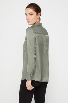 Cortefiel Silk feel shirt Green