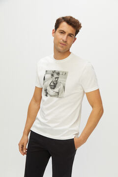 Cortefiel Short-sleeved Steve McQueen t-shirt Ecru