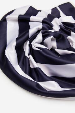 Cortefiel Lenço de seda tato sedoso riscas azul-marinho Azul