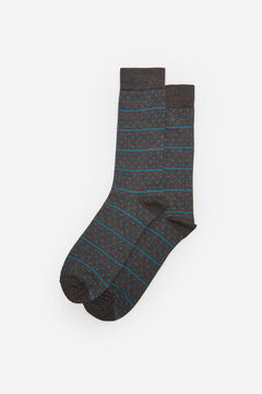 Cortefiel Organic cotton striped and polka-dot socks Gray