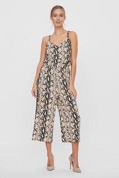 Cortefiel Printed culotte jumpsuit Stone