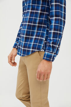 Cortefiel Checked organic cotton Oxford shirt Turquoise