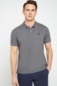 Cortefiel Short-sleeved logo polo shirt Gray