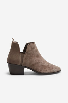 Cortefiel Perforated leather ankle boot Gray