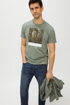 Cortefiel Printed short-sleeved t-shirt Pistachio green