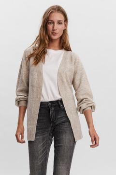Cortefiel Essential jersey-knit cardigan Stone