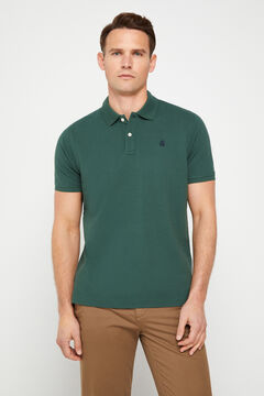 Cortefiel Short-sleeved logo polo shirt Green