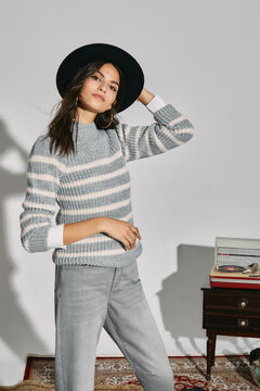 Cortefiel Sustainable striped jumper Dark gray