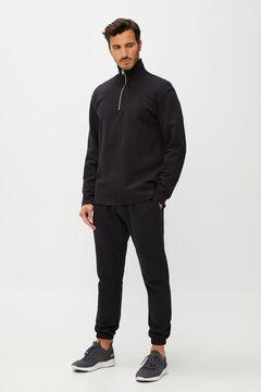 Cortefiel Long-sleeved organic cotton polo shirt Black