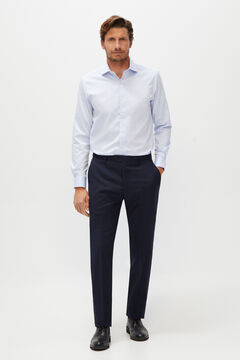 Cortefiel Tailored fit check texture suit trousers Navy