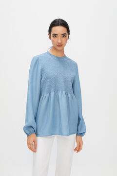 Cortefiel Embroidered smocked Lyocell shirt Blue