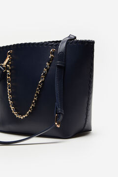 Cortefiel Woven shopper bag Navy