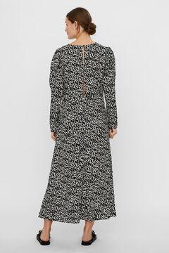 Cortefiel Long printed dress Black