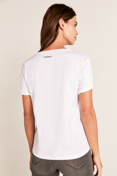 Cortefiel Butterfly boat neck t-shirt White