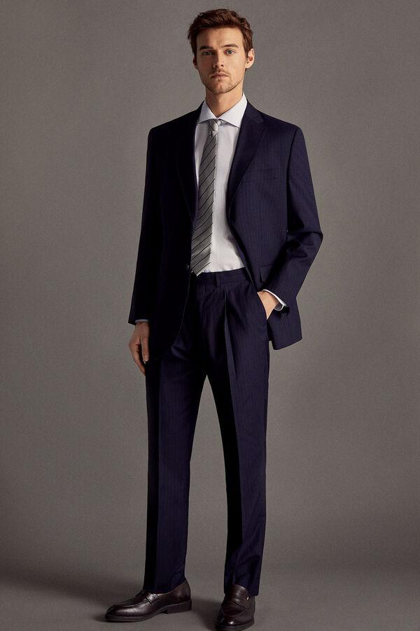 7aeffd3b5 Cortefiel Pantalón traje rayas classic fit Azul