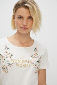 Cortefiel Floral printed t-shirt Ecru