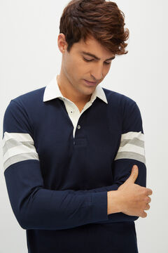 Cortefiel Long-sleeved polo shirt Navy