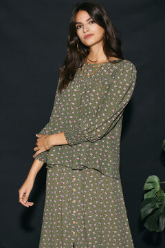 Cortefiel Printed blouse Green