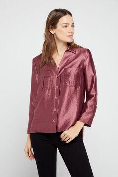 Cortefiel Lamé shirt Fuchsia