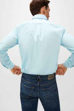 Cortefiel Plain organic cotton Oxford shirt Royal blue