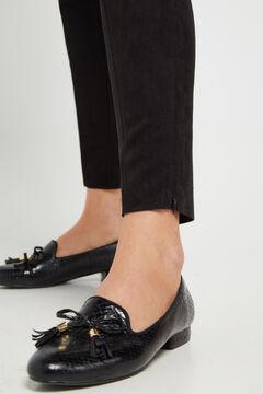 Cortefiel Faux suede leggings Black