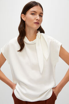 Cortefiel Top with high neck and side tie White