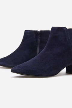 Cortefiel Split leather ankle boot Navy