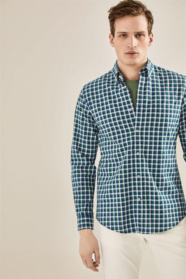 Cortefiel Camisa cuadros cuello botón Azul e9b856f1768