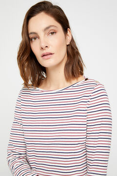 Cortefiel Essential organic cotton boat neck t-shirt Blue