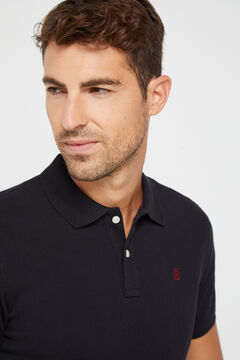 Cortefiel Essential short-sleeved polo shirt Black
