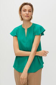 Cortefiel Flowing blouse Dark green