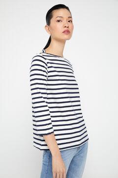 Cortefiel Organic cotton boat neck t-shirt Blue