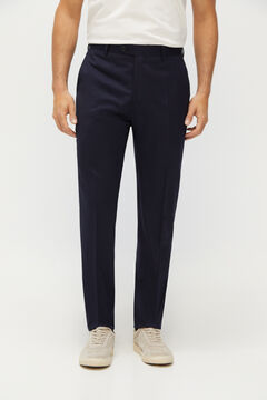 Cortefiel Tailored fit Coolmax® trousers Navy