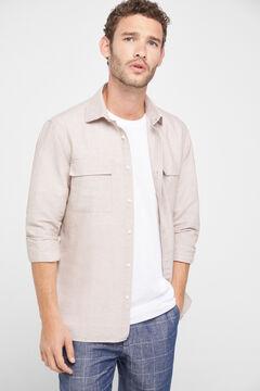 Cortefiel Plain shirt Stone