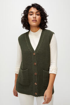 Cortefiel V-neck vest Dark green
