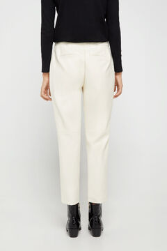 Cortefiel Slim fit faux leather trousers Ecru